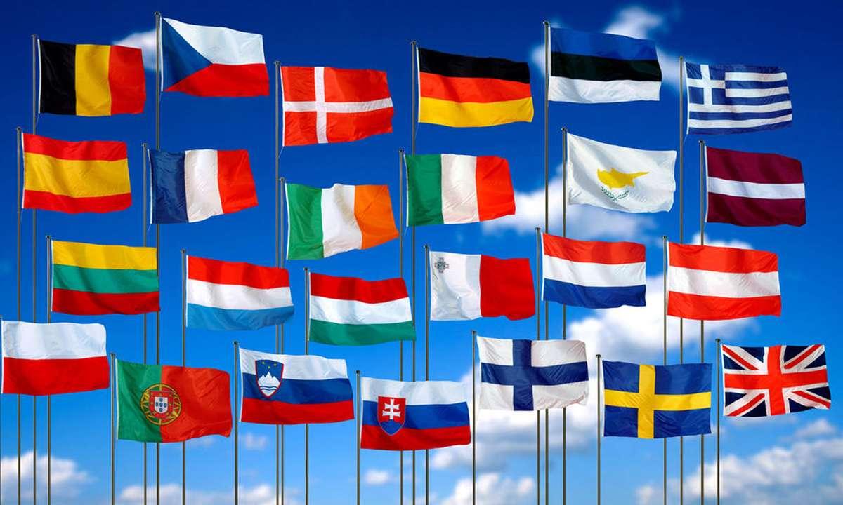 Развивающиеся флаги европейских государств