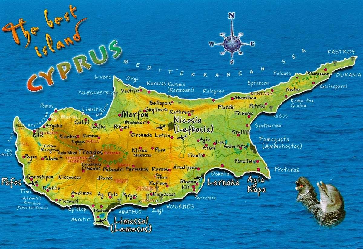 Карта Кипра с населенными пунктами