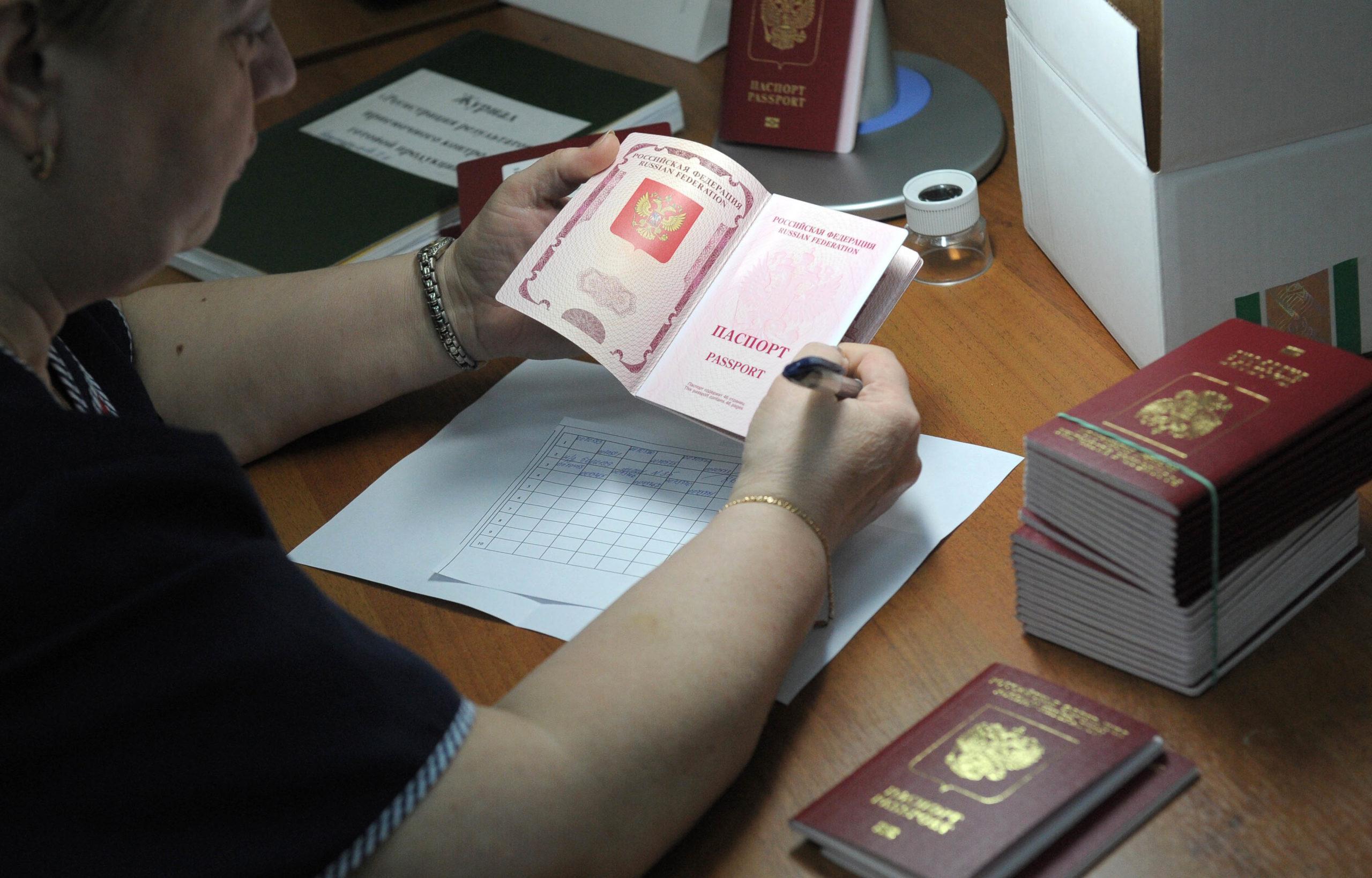 Работник миграционной службы проверяет документы