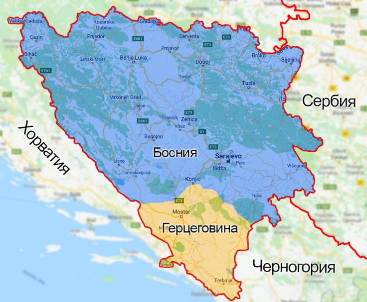 Босния и Герцеговина на карте Европы