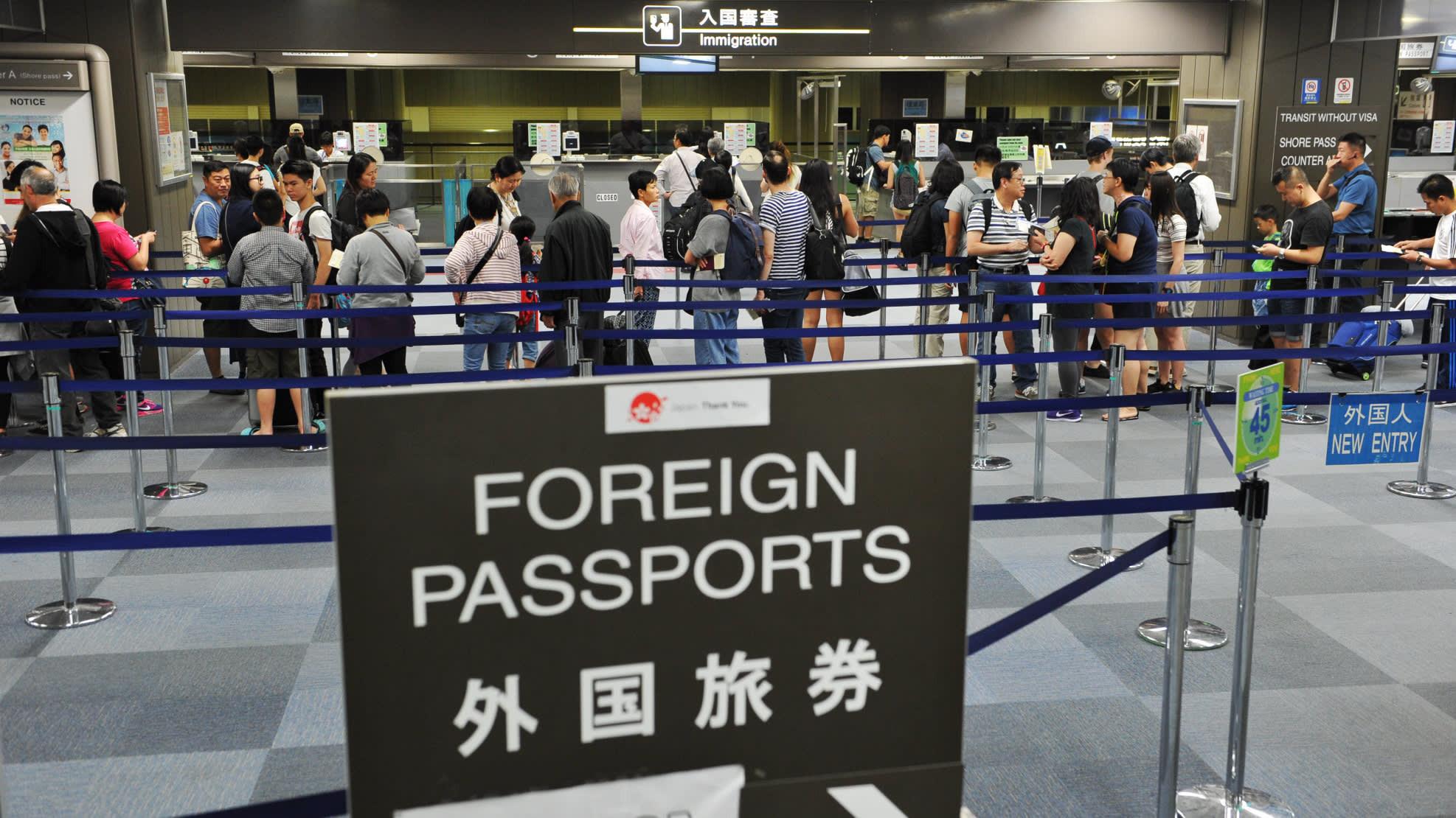 Паспортный контроль в аэропорту Токио