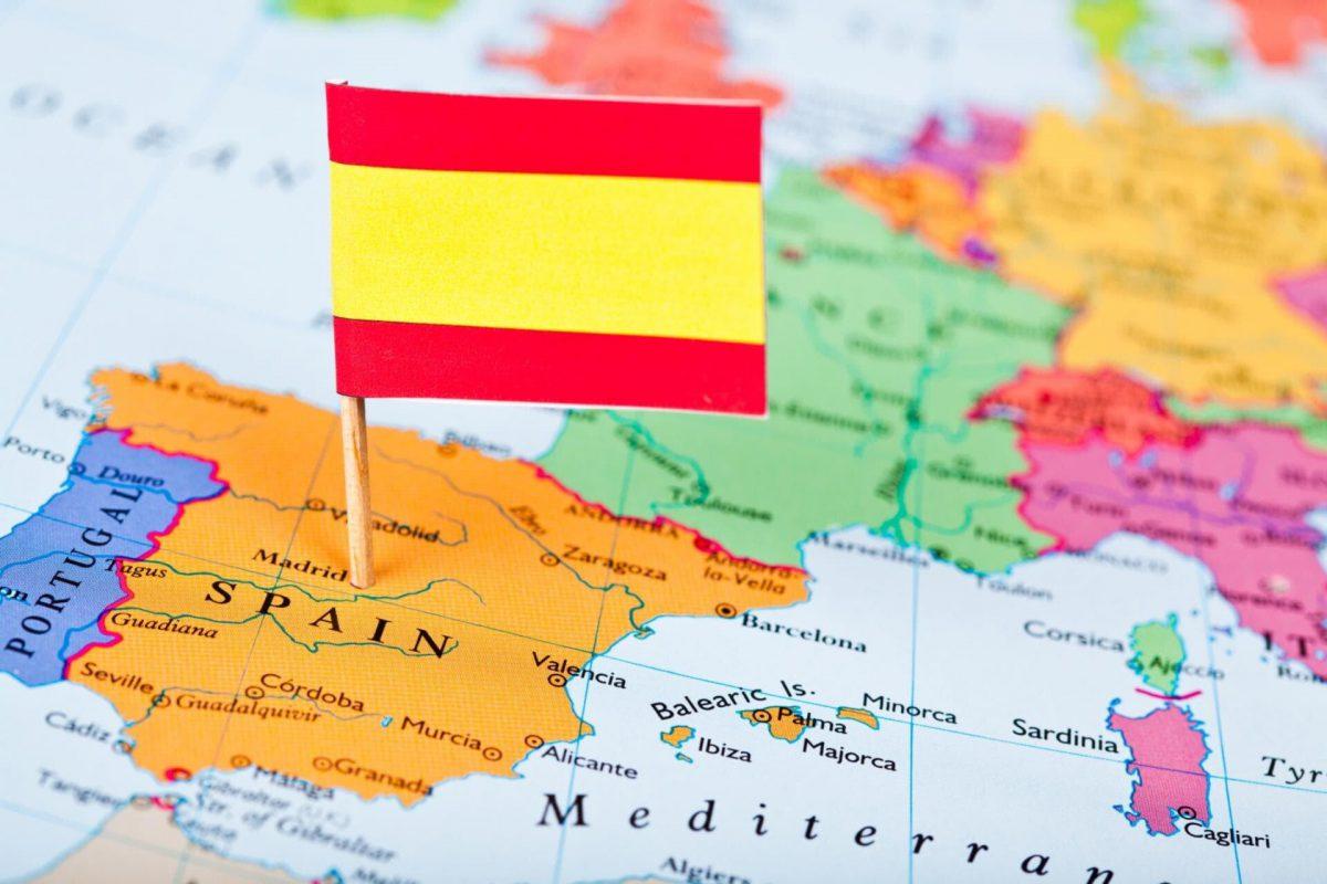Отметка на карте Испании