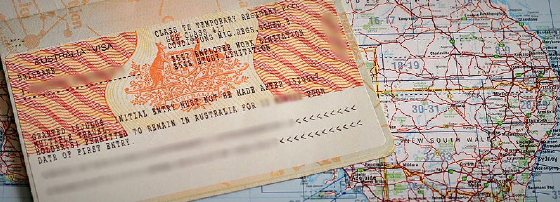 Австралийская виза в загранпаспорте