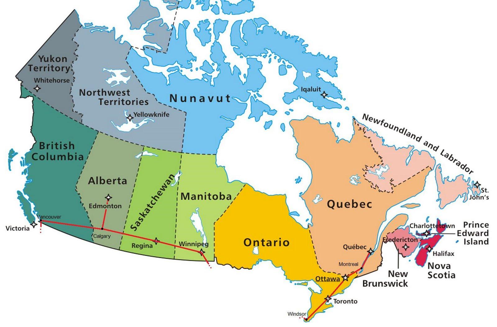 Карта Канады с провинциями