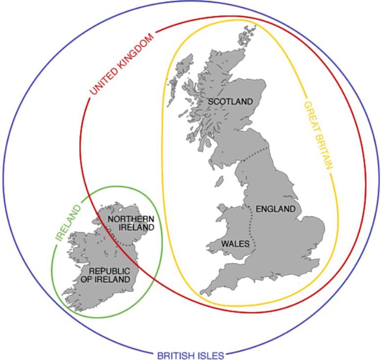 Острова Великобритании на карте