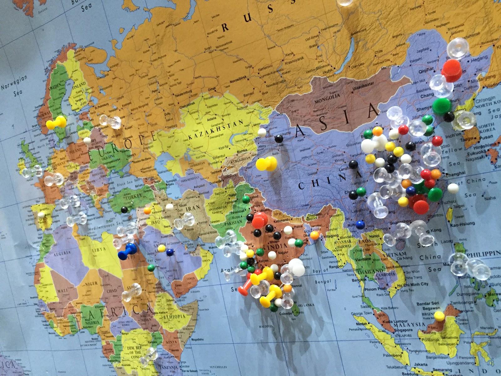 Отметки стран на карте, где уже побывал