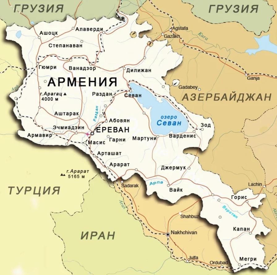 Карта Армении и приграничных государств