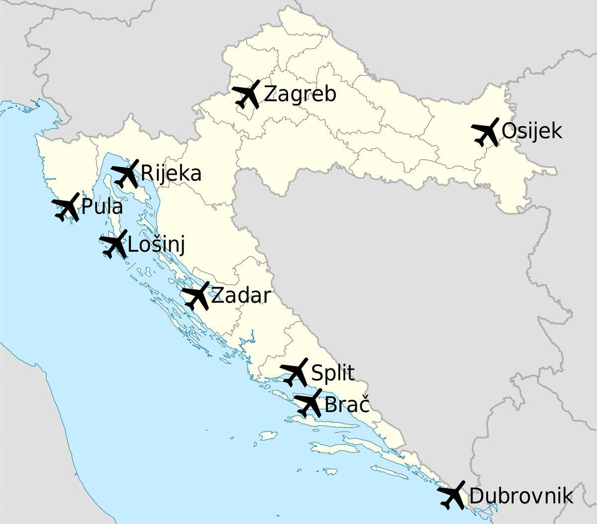 Лакра Хорватии с аэропортами