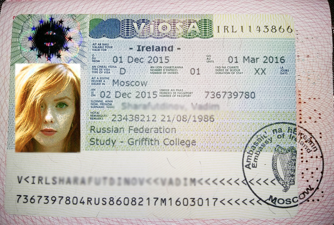Как выглядит ирландская учебная виза в паспорте