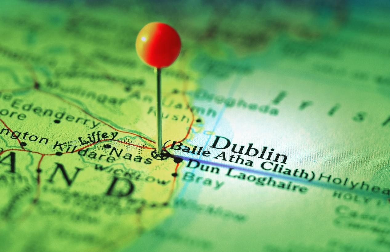 Дублин отмечен булавкой на карте