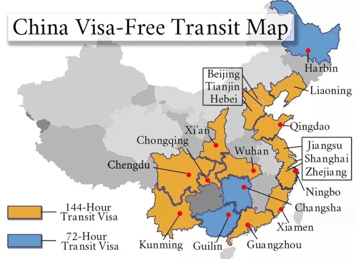 Карта китайских аэропортов, в которых возможен безвизовый транзит