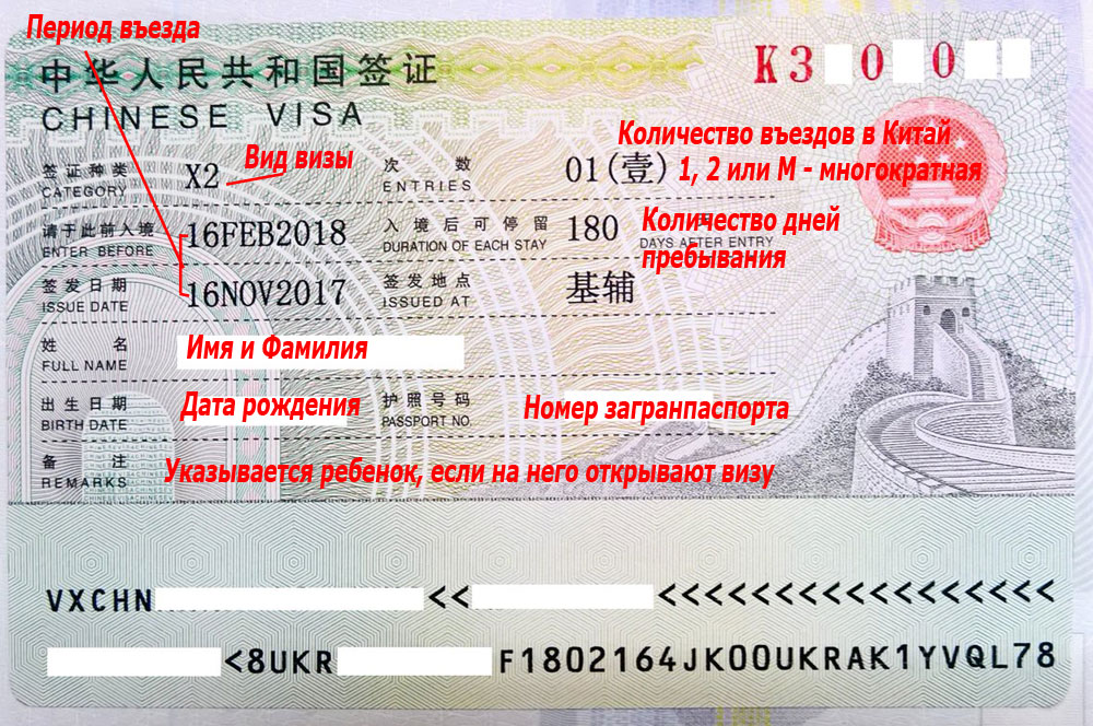 Китайская виза, вклеенная в загранпаспорт