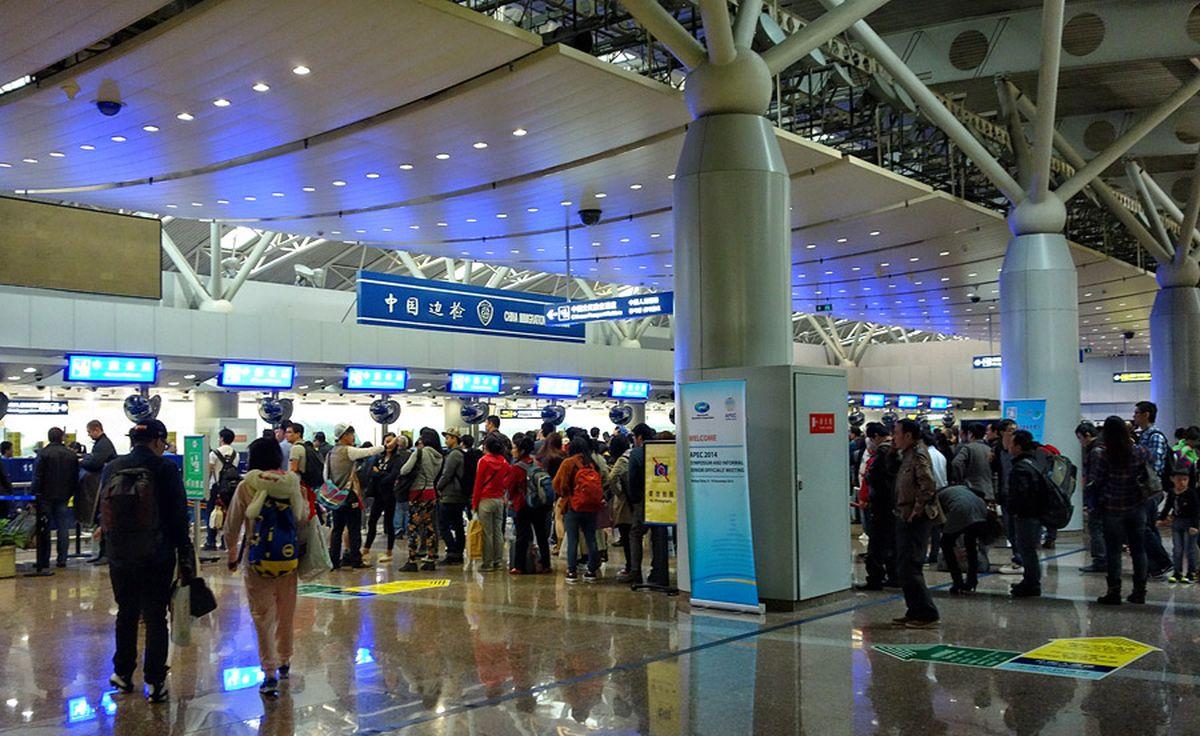Зона паспортного контроля в аэропорту Пекина