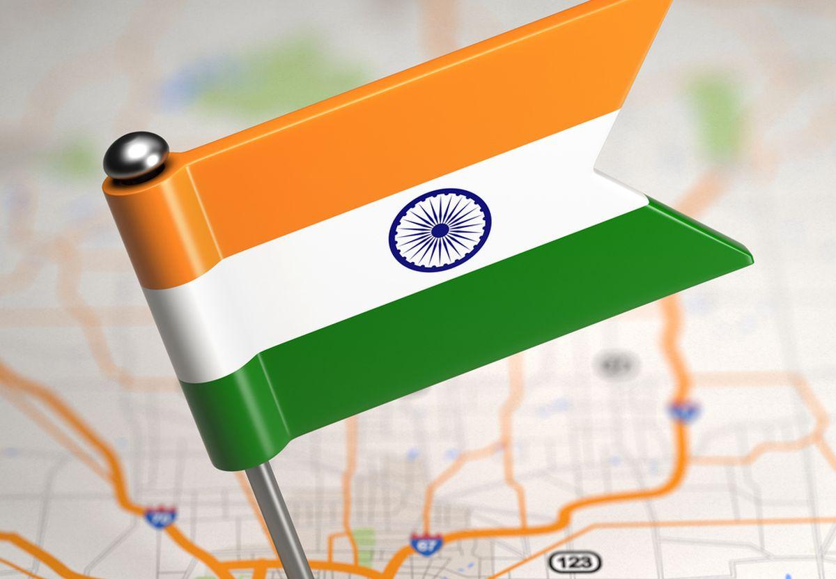 Флажок Индии на карте