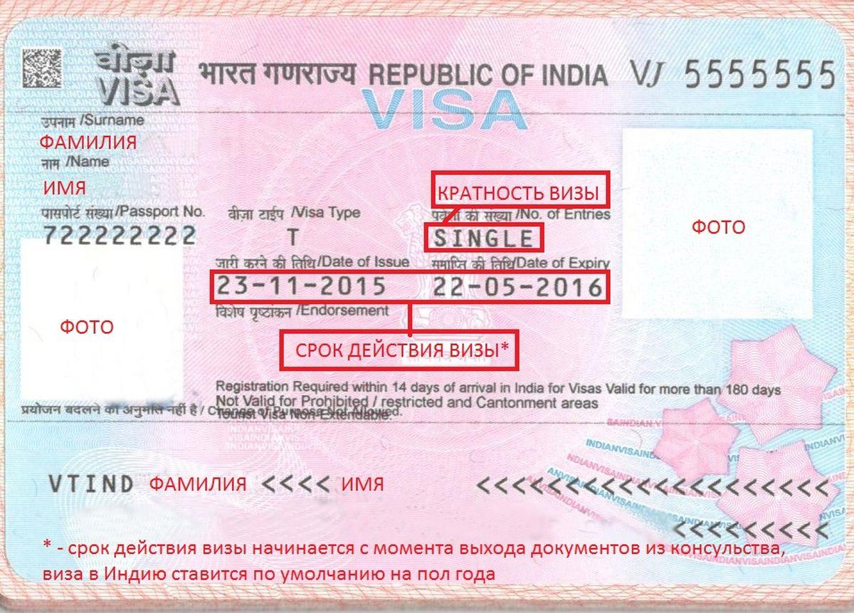Индийская виза, вклеенная в паспорт