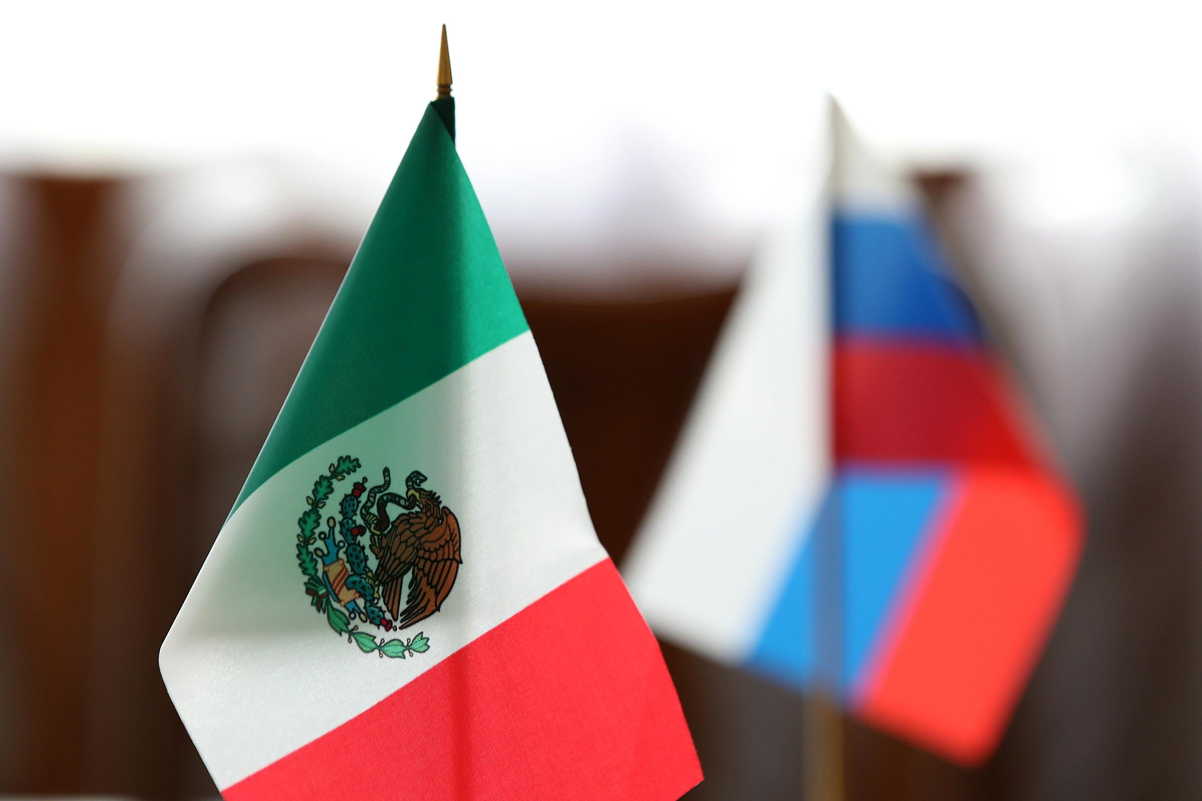 Мексиканский и российский флаги