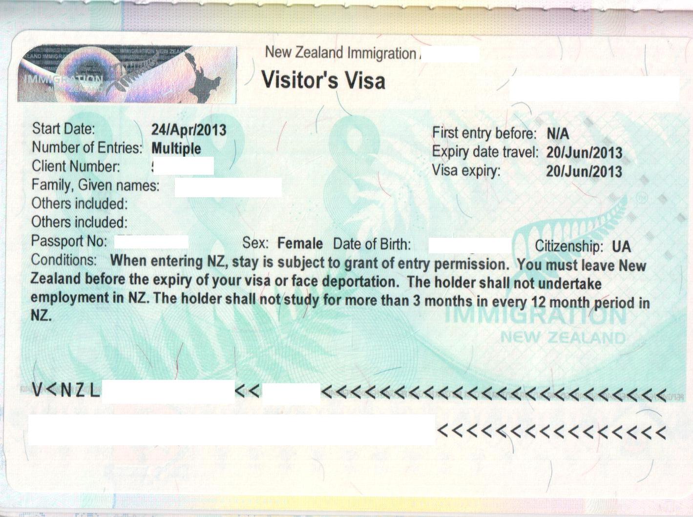 Туристическая виза Новой Зеландии в паспорте