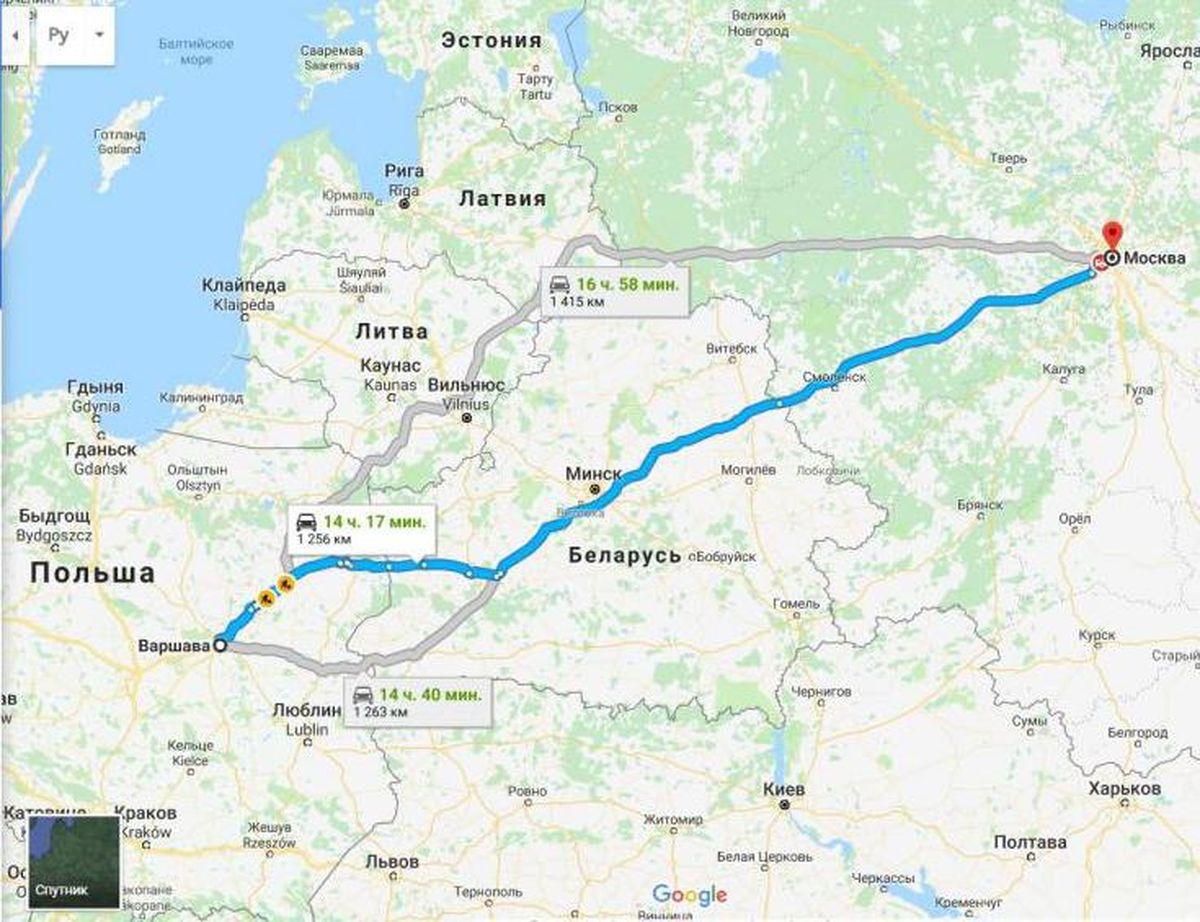 Маршрут из Москвы в Варшаву на машине