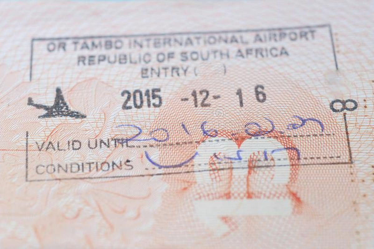 Штамп по прилету в ЮАР