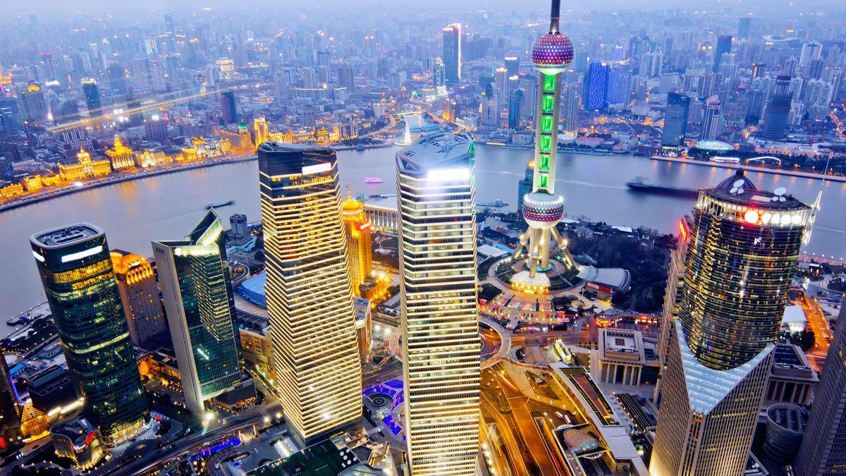 Панорама с высоты птичьего полета на Шанхай