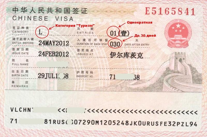 Национальная китайская виза