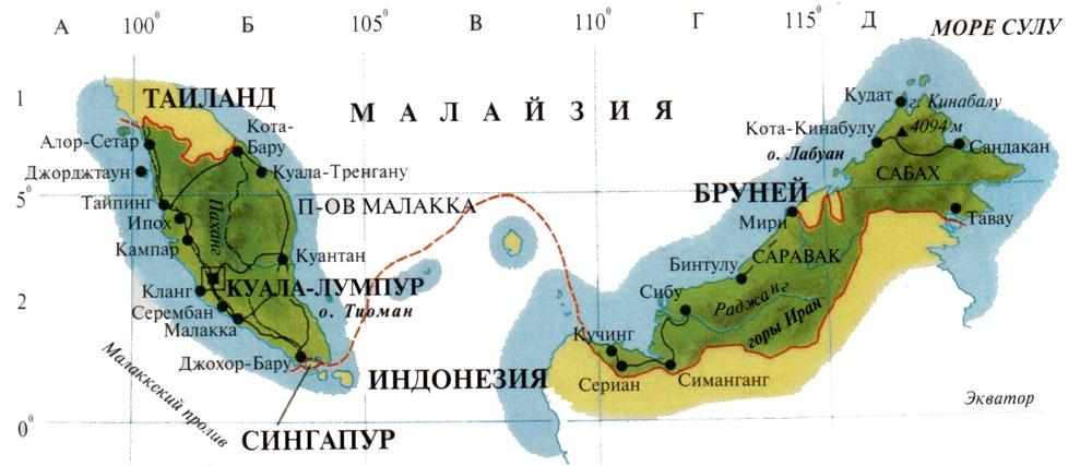Карта материковой и островной части Малайзии