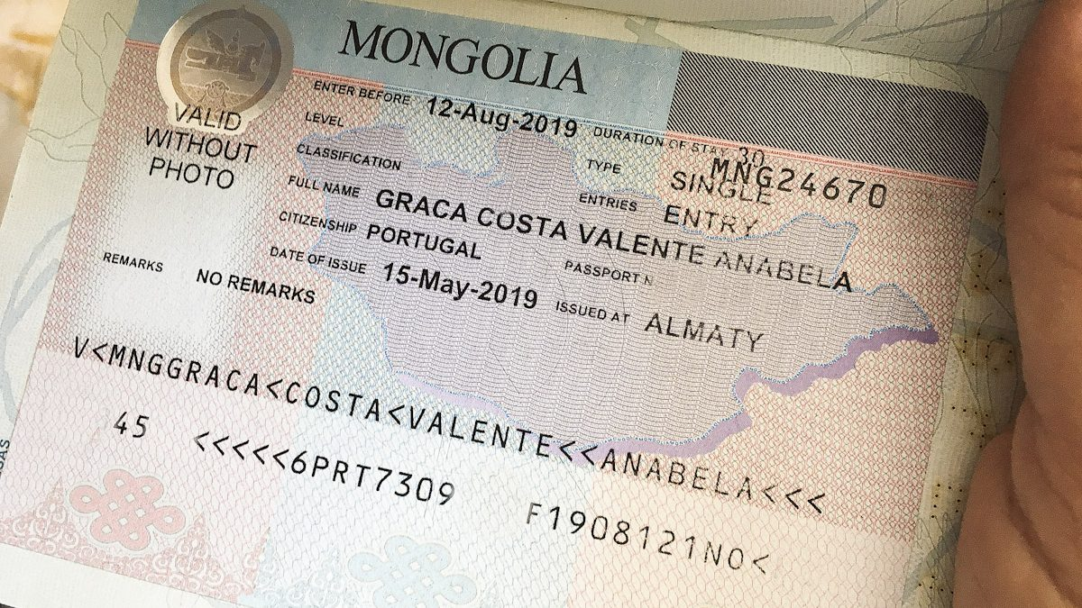 Монгольская виза в паспорте