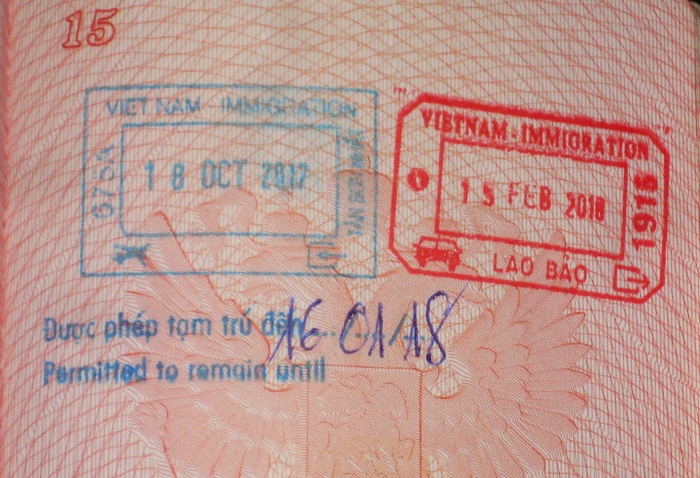 Вьетнамский въездной штамп в паспорте