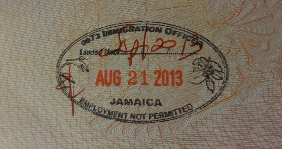 Въездной штамп на границе Ямайки