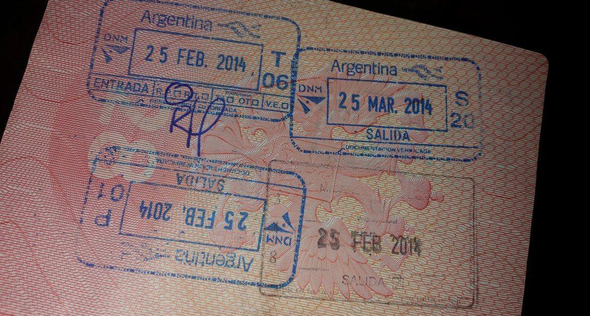 Въездные штампы Аргентины в паспорте